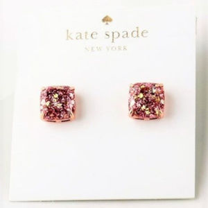Kate Spade Rose Gold Glitter Stud Earrings